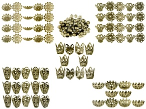 Filigree Bead Cap Set includes 275 Pieces Of Assorted Sizes And Styles in Antique Brass Tone