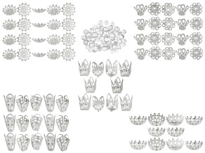 Filigree Bead Cap Set includes 275 Pieces Of Assorted Sizes And Styles in Silver Tone