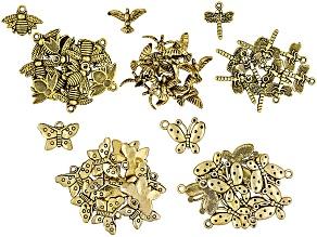Charm Kit 58 Piece Antique Gold Color 58 includes 22 Butterflies, 12 Bees, 12 Birds, 12 Dragonflies