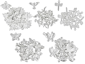 Charm Kit 58 Piece Silver Tone 58 includes 22 Butterflies, 12 Bees, 12 Birds, 12 Dragonflies