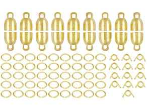 Gold Tone Ez Tie Ends (Cone Ends) Kit Contains 9 Sets Of Cone Ends And 45 Jump Rings