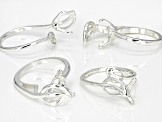 Adjustable Silver Tone Stone/Bead Setting Rings Kit Contains 8 Rings Total Fits Sizes 5 To 10.