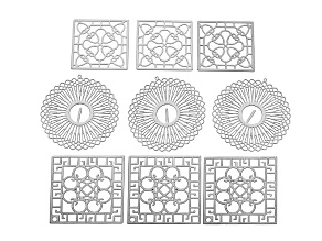 Gatsby inspired Stainless Steel Jewelry Making Components Kit incl 3 Large Sq, 3 Small Sq, And 3 Rd