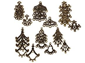 Ear/Neck Drop Component Kit Antique Brass 30 Pcs Total: 5 Pcs Ea 6 Different Designs
