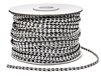 Picture of Flat Polyester Braid Spool.  This includes A 50 Meter Spool in Grey/Silver Color