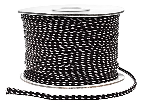 Flat Polyester Braid Spool.  This includes 1 Each 50 Meter Spool in Black Color
