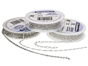 Chain Kit With Cable Curb And Figaro Spools Silver Tone
