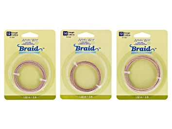 Picture of Braided Artistic Wire Kit  10, 12, And 14 Gauge In Rose Tone appx 12.5 Feet Total