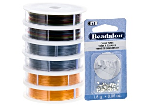 Supplemax Bead Cord Assortment Kit incl 2 Spools Each 0.70mm, 3 Different Colors & 2.0mm Crimp Tubes