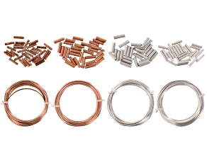 Artistic Wire Hexagonal & Crimp Connectors Kit 12 & 14  Gauge in Silver Tone & Bare Copper