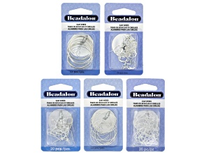 Silver Tone Earring Making Kit Set Of 5 Styles 90 Pcs Total