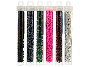 Seed Bead Czech Glass Assortment Size 6 in 6 Assorted Colors