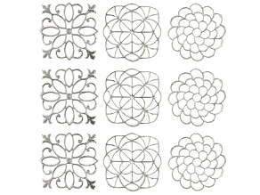 Designer Elements Cast Components in Silver Tone: Garden Gate, Curved Sq & Twisting Flower 9pcs
