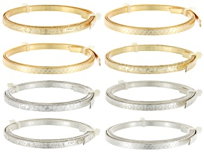 Artistic Wire Patterned 5mm Flat Wire in Gold Tone & Silver Tone 4 Styles Each