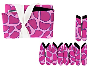 Fashion Grips ™ Pink Giraffe Pattern Set Of Five Covers Plus Tool Pouch