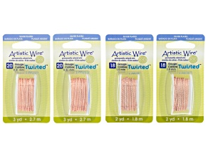Artistic Wire Twisted Rose Tone Wire Kit in 18 & 20 Gauge 10 Yards Total
