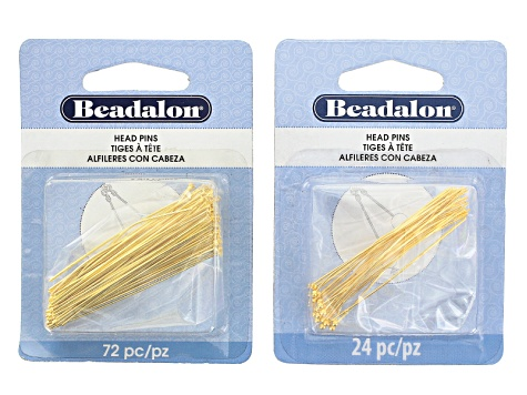 Head Pins Kit in Silver Tone & Gold Tone incl Assorted Styles & Sizes