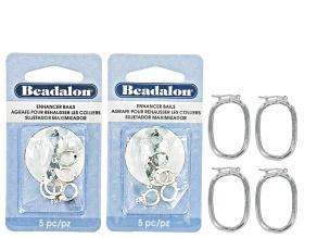 Pearl Shortener & Enhancer Kit in Silver Tone includes 4 Oval Pearl Shorteners And 10 Enhancer Bails