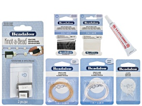 Knot-A-Bead Accessory Kit incl French Wire, Silk Thread, Clasps, Spacers, & Bead Stringing Glue