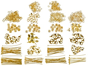 Findings Bulk Supply Kit in Gold Tone Jump Rings, Bails, Caps, Pins & Clasps Appx 785 total pieces