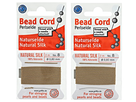 Silk beading cord size 8 in 11 assorted colors