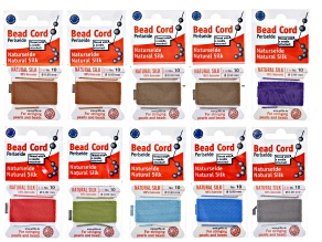 Silk beading cord size 10 in 8 assorted colors incl 10 cards