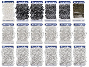 BULK CHAIN KIT IN SILVER TONE, HEMATITE COLOR & ANTQ BRASS INCL 6 STYLES/18 PIECES TOTAL