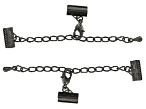 Chain extender clasp in hematite color includes 2 sets
