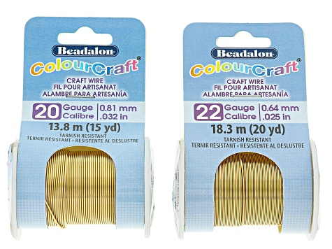 Colourcraft Gold Tone Wire Kit total of 7 wires in assorted sizes