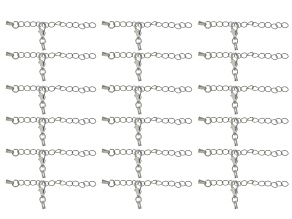 Cord Extension Chain End Set of 9 appx 1.9mm in Silver Tone 18 pieces total 2 in each pack.