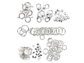 Findings variety pack in silver tone includes appx 134 pieces