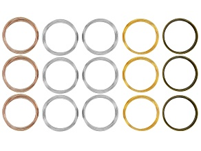 Memory Wire Round Large Bracelet in 4 Tones Set of 15 0.50oz each