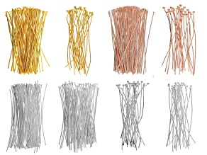 Headpin Assortment in Silver, Gold & Rose Gold Tone in 8 Styles 420 Pieces Total