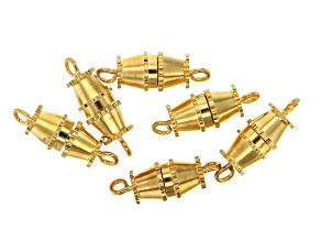 Barrel Clasp appx 9.5x5.5mm in Gold Tone 6 Pieces