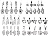 Glue on Bail Set of 40 Pieces in Silver Tone in Assorted Styles