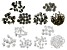 Assorted Bead Cap Set in Silver Tone & Antique Bronze Tone Includes Appx 550 Pieces