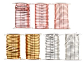 Colourcraft Wire Kit in Silver Tone, Rose Gold Tone, and Brass. Includes 16 G, 18 G, and 20 G