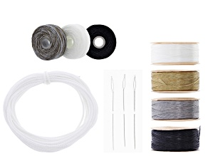 Bead Stringing Kit Includes Nylon Thread, White Braided Polyester Cord, and B-Lon Cord Set