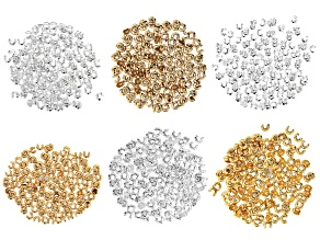 Crimp Covers in 3 Sizes in Silver Tone and Gold Tone Appx 864 Pieces Total