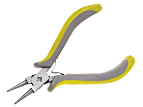 Jewel School Ergo Round Nose Plier With Green & Light Grey Handles