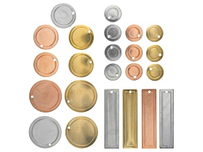 Metal Blanks Kit in Aluminum, Copper and Brass includes assorted shapes and sizes