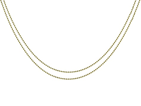 ImpressArt® 1.5mm Ball Chain Necklace Set of 2 in Brass Tone appx 18