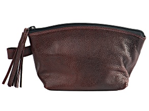 Leather Pouch with Zip Tassel in Brown