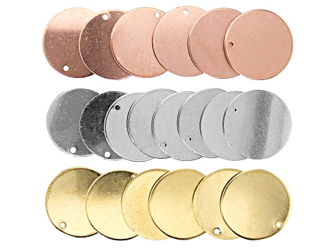 "Impressart® Circle Blank with Pre-Drilled Hole Appx 3/4"" Kit in Silver, Gold, and Rose Tone"