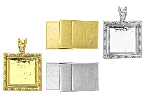 Impressart® Large Artisan Square Bezel Blank Kit in Silver Tone and Gold Tone