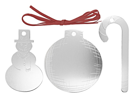 Impressart® DIY Holiday Ornament Project Kit Includes 3 Ornaments in Silver Tone and Ribbon
