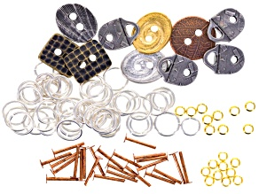 Riveting Supply Kit includes Buttons, Strap Tip, Gold Plated Spacers And Jump Rings