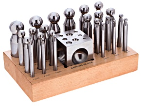 Doming Dapping Round Forming Kit, 24 Piece Set With Block Range 2.3mm To 25mm