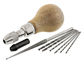 Bead Reamer And Drill Bit Kit incl Bead Reamer With Wood Handle And Asst Drill Bits