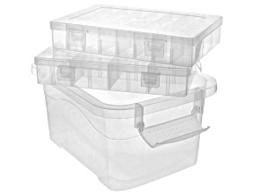 Storage Collection 3 Piece Clear Rectangular Organizers in Assorted Sizes
